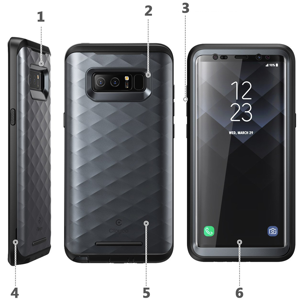 Etui pancerne Supcase Clayco Hera do Galaxy Note 8, czarne