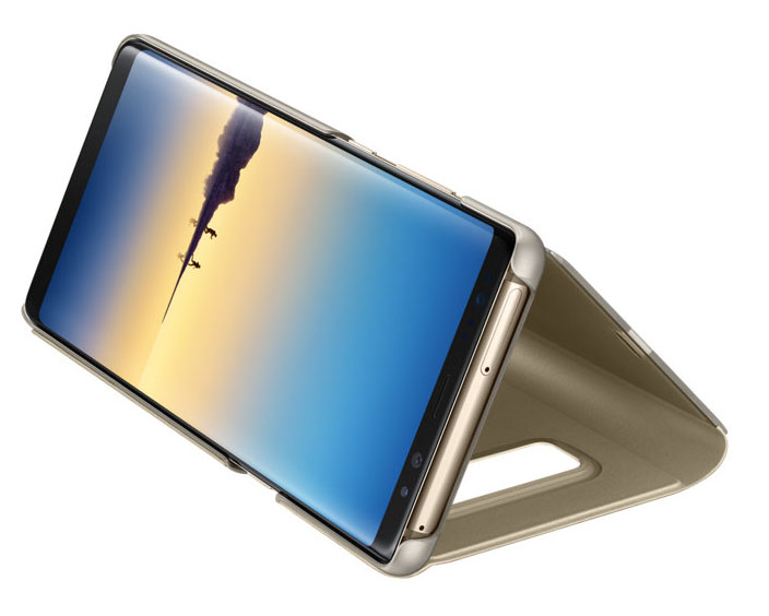 Etui z klapka funkcyjną Samsung Clear View Standing Cover do Galaxy Note 8, złote (Gold).