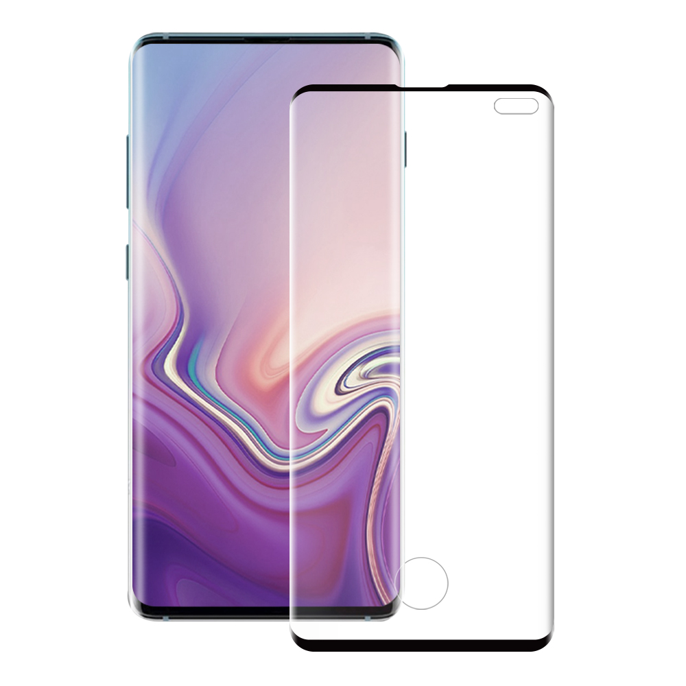 Szkło hartowane z zaokrąglonymi krawędziami kompatybilne z etui Eiger 3D Glass Case Friendly dla Samsung Galaxy S10 Plus z czarną ramką.
