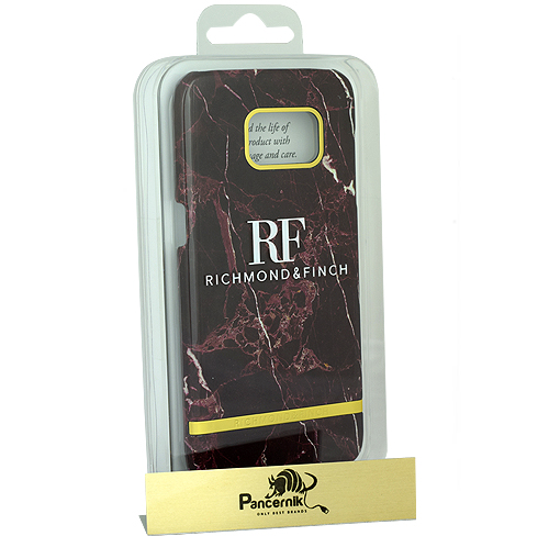 Etui Richmond & Finch Red Marble Glossy Galaxy S7 Edge bordowe