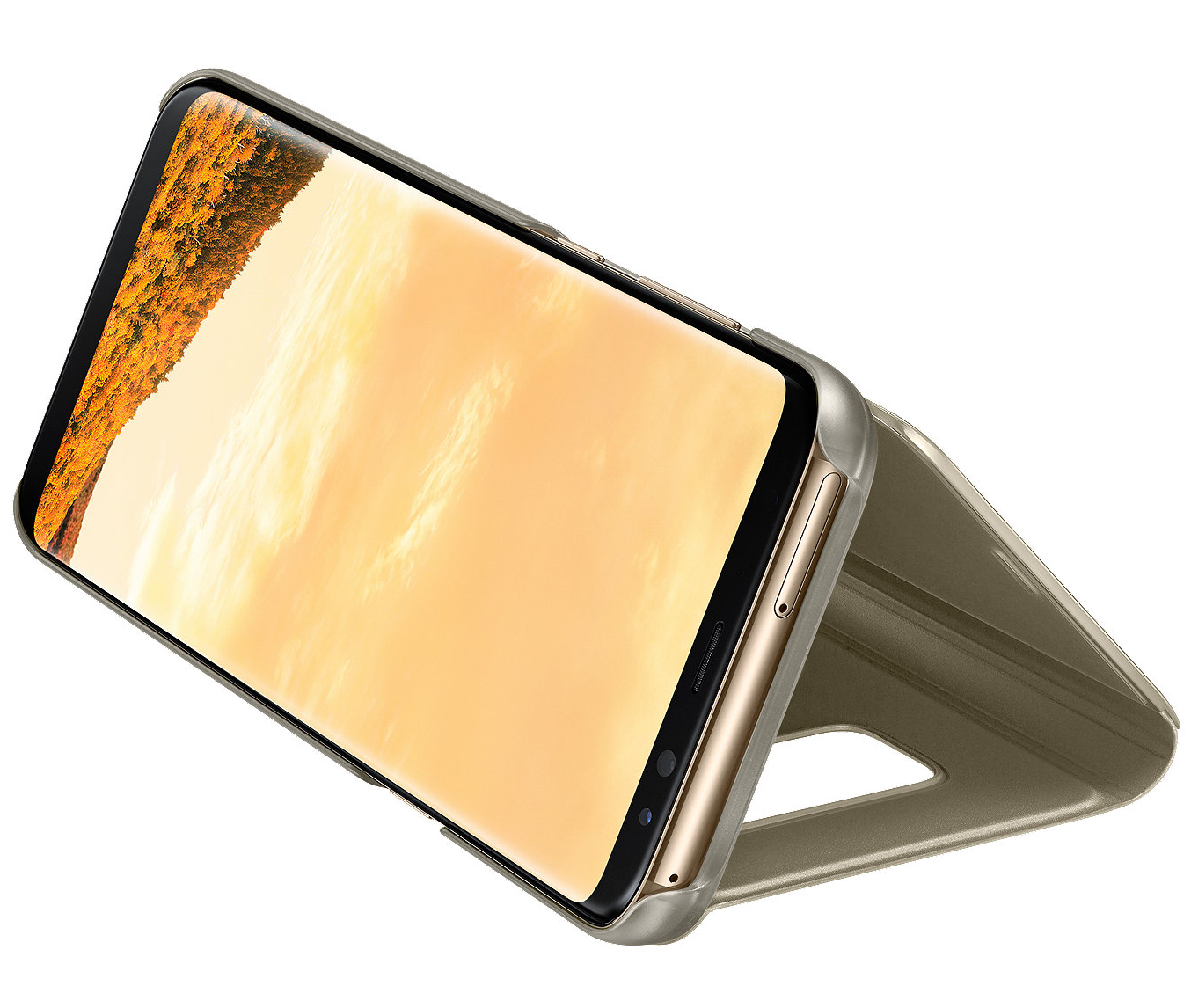 Etui z klapka funkcyjną Samsung Clear View Standing Cover do Galaxy S8 Plus, złote (Gold).
