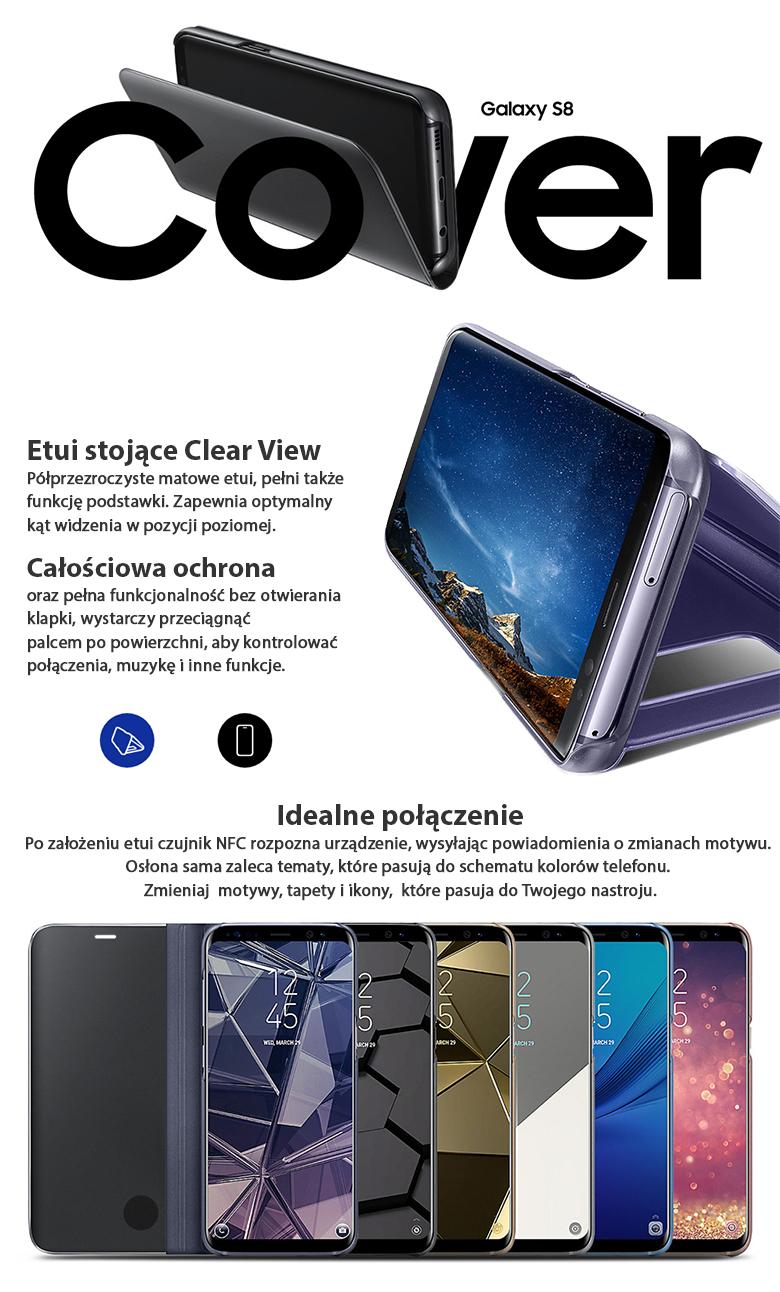 Etui z klapka funkcyjną Samsung Clear View Standing Cover do Galaxy S8, złote (Gold).