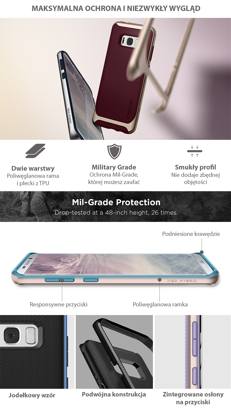Oryginalne etui Neo Hybrid od marki Spigen dla Galaxy S8 Plus