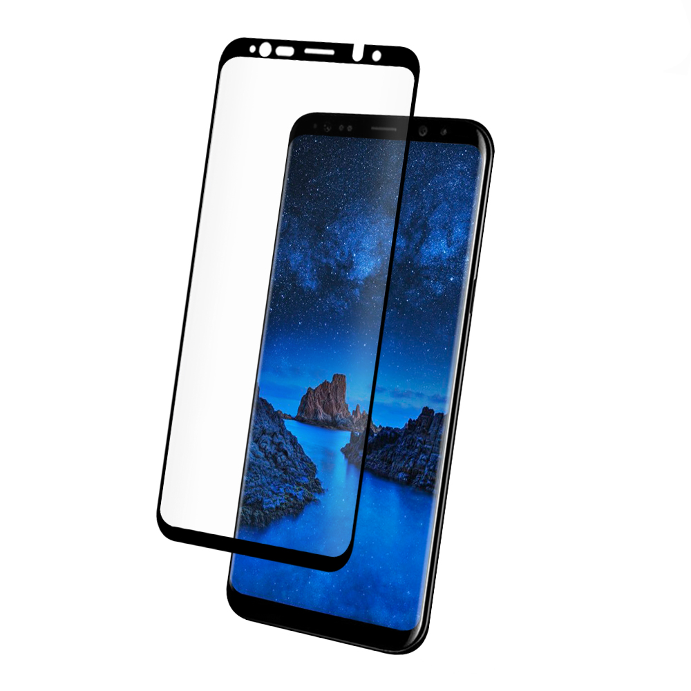 Szkło hartowane z zaokrąglonymi krawędziami kompatybilne z etui Eiger 3D Glass Case Friendly dla Samsung Galaxy S9 Plus z czarną ramką.