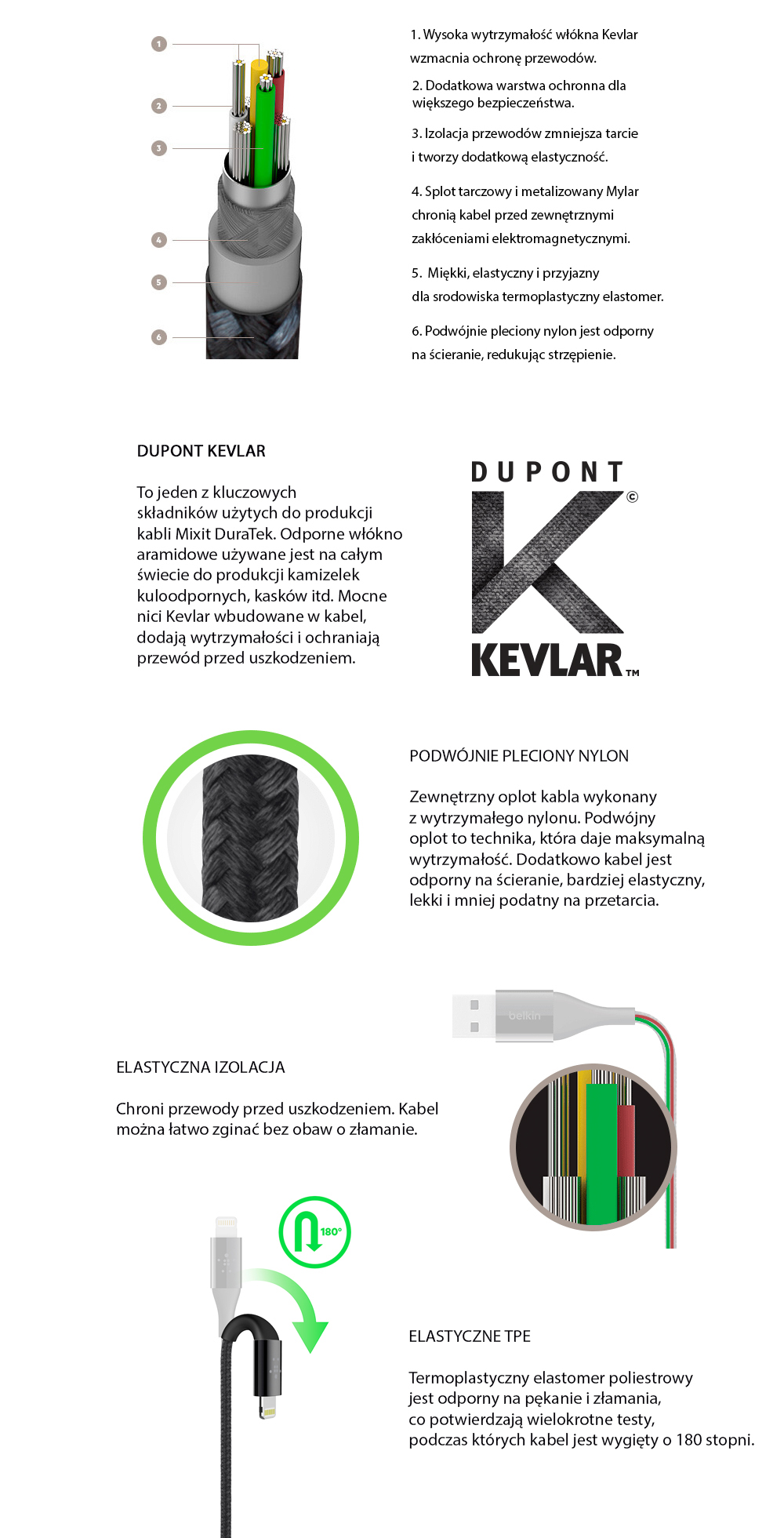 Kabel Belkin Mixit DuraTek Lightning USB-C, srebrny.