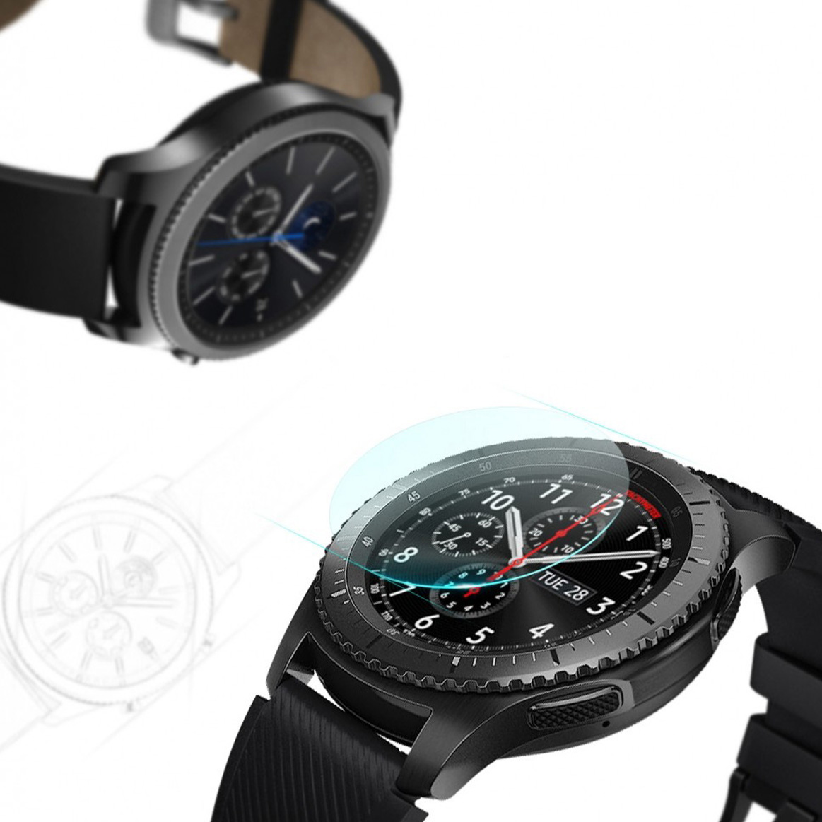 Szkło hartowane na ekran Ringke Invisible Defender Glass dla Galaxy Watch 46mm / Gear S3, 4 sztukii