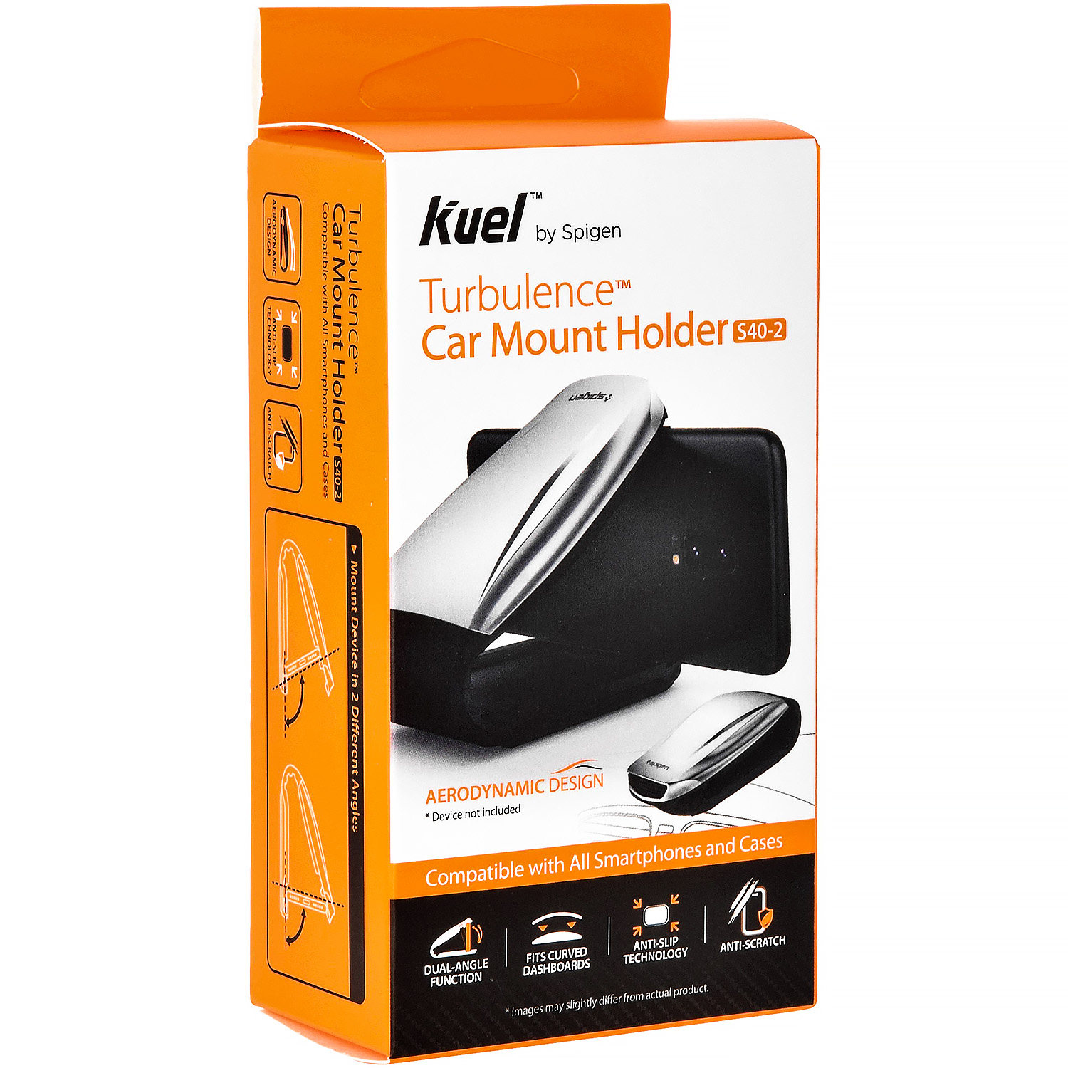 Uchwyt Spigen Turbulence Car MOunt Holder S40-2, srebrne