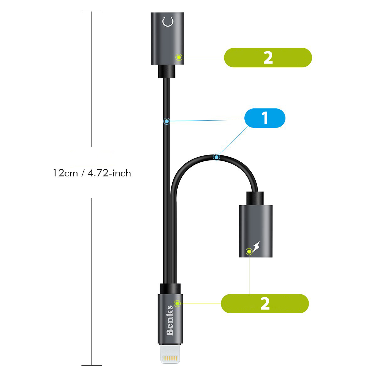 Kabel/adapter Benks Lightning Splitter