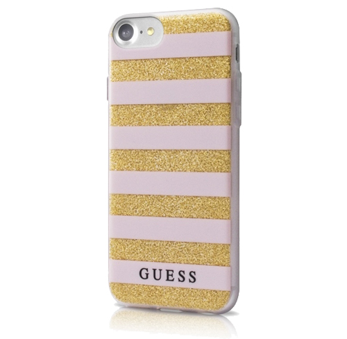 GUESS Soft Case stripes iPhone 7, różowe