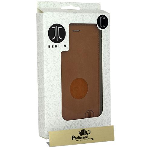 Etui skórzane JT Berlin Leather Book Magic iPhone 7 plus, cognac koniakowe