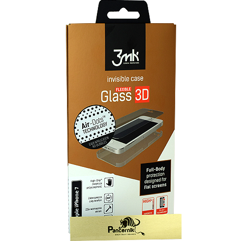szkło, folia na całość 3mk flexible glass 3D high-grip iphone 7