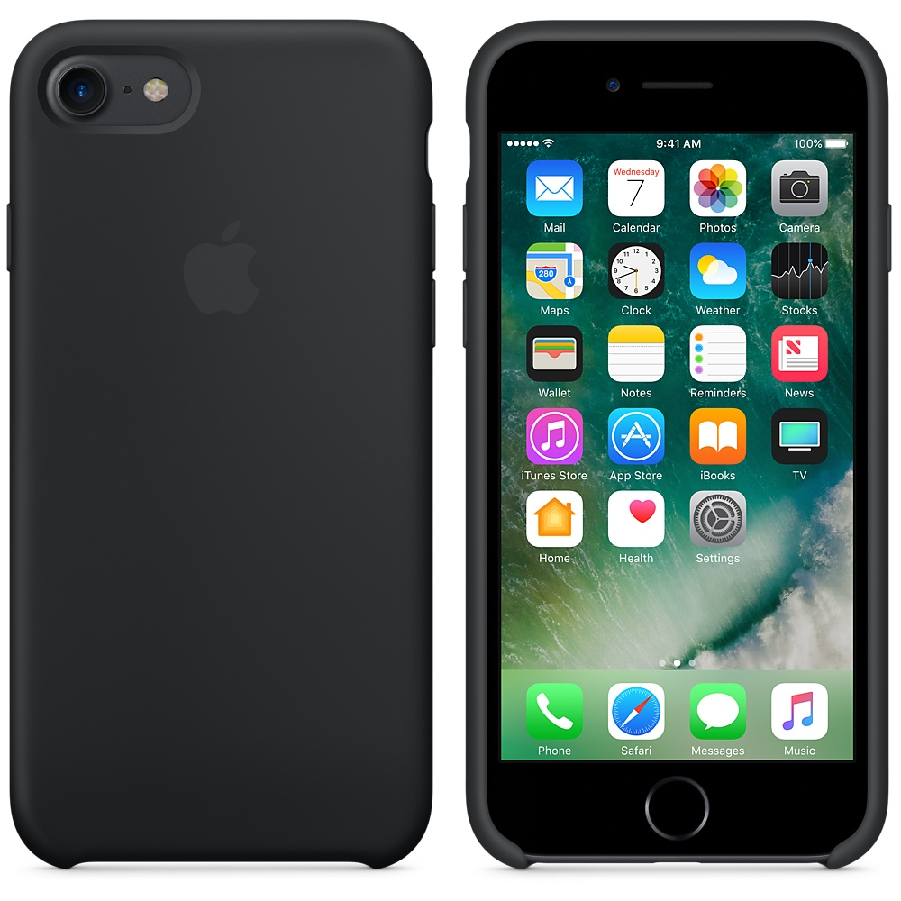 Etui Apple silicone case silikonowe iphone 7 black czarne..