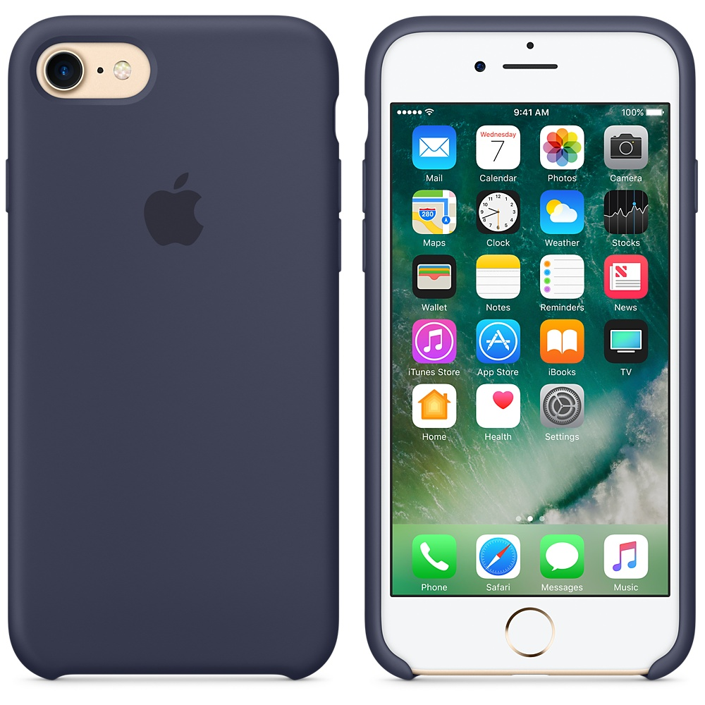 Etui silikonowe Silicone Case iPhone 7, nocny błękit (Midnight Blue)..