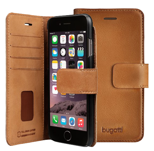 Bugatti Leather booklet Case iphone 7 cognac