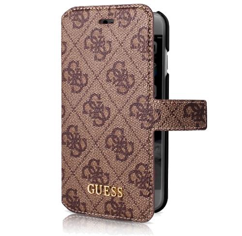Etui Guess folio case iphone 7 brązowa signature
