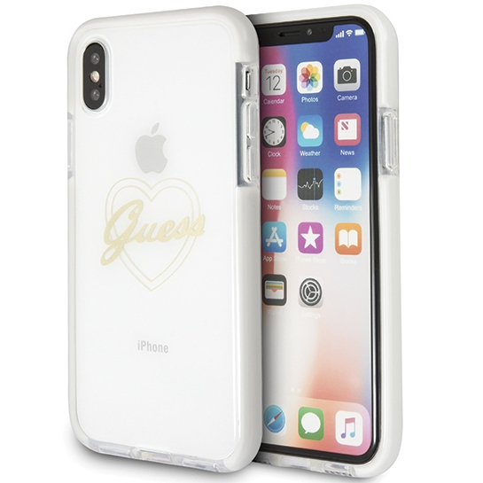 Oryginalne ekskluzywne etui od marki Guess hard case Signature Heart ShockProof dla Apple iPhone X/Xs, złote gold heart.