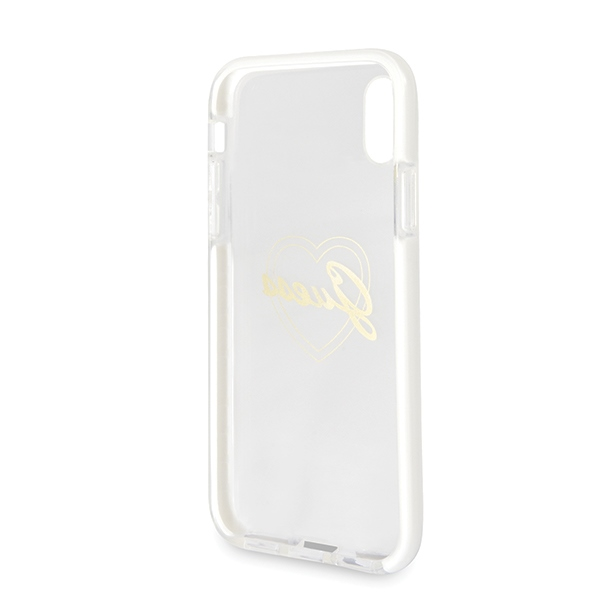 Oryginalne ekskluzywne etui od marki Guess hard case Signature Heart ShockProof dla Apple iPhone X/Xs, złote gold heart..