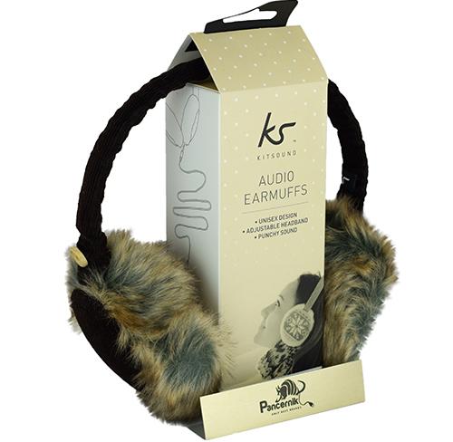 Słuchawki Przewodowe KitSound Audio Earmuffs Nauszniki BROWN BUTTON, (Brązowy Sztruks)